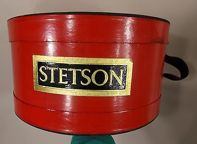 vintage STETSON bright red/black hat box straps cool decoration