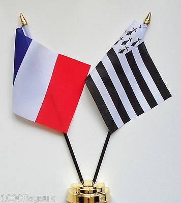 France & Brittany Double Friendship Table Flag Set