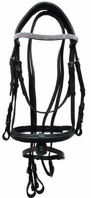 Equidor Leather Snaffle Bridle With Crystal Browband And Plain Reins