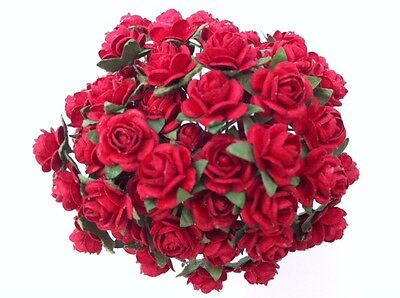 50 RED MULBERRY PAPER ROSES 1cm (10mm) and 1.5cm (15mm)