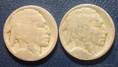 "2 Buffalo Nickel  ""No Date Type"" Vintage Old Collectable Coins"