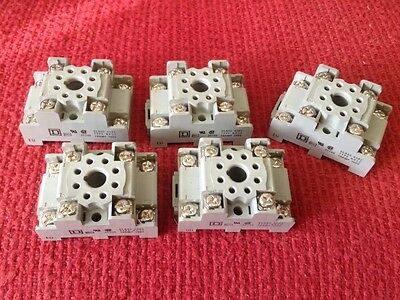 Five (5) SQUARE D CLASS #8501 - TYPE NR52 - 10 AMP 300V RELAY SOCKET BASE