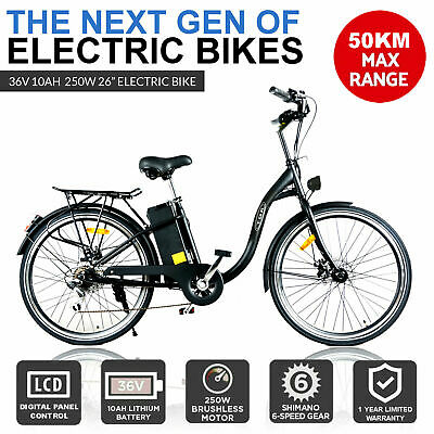 New Adults 250W Electric Ebike 48V Bike Pedal Assist Lithium Scooter Bicycle