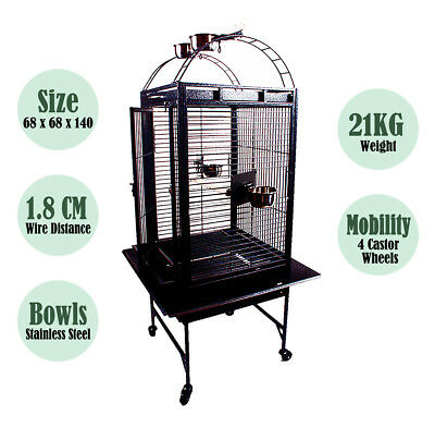 1 x  New Large Black Arched Roof Pet Bird Parrot Canary Cage Castor Wheels 140CM