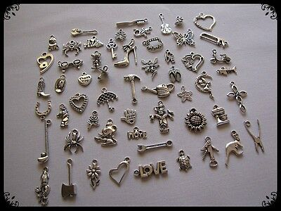 Bulk Pack Of 100 Mixed Tibetan Silver Charms  ((((Buy 2 Get The 3Rd Free))))