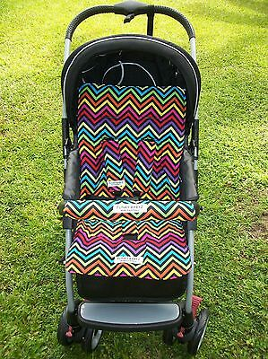 *COLOURED CHEVRON*universal pram liner set-includes front belly bar cover.