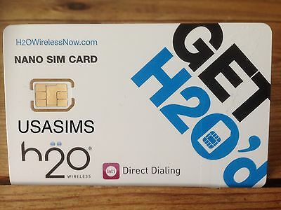 US USA GENUINE 3in1 h2o NANO SIM CARD WORKS ON AMERICAS BIGGEST NETWORK AT&T