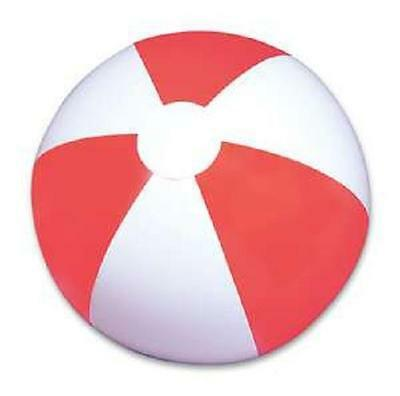 """6 RED AND WHITE  BEACH BALLS 12"""" Pool Party Beachball NEW #AA2 Free Shipping"""