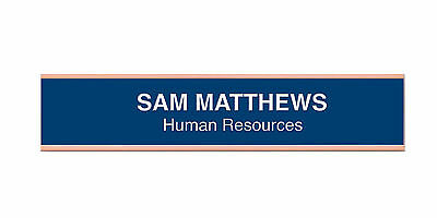 New Custom name Engraved BLUE Interchangeable Desk Name Plate 2 x 8 office use