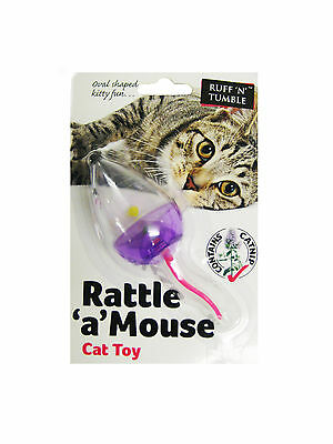 Rattle 'a' Mouse Cat Toy Fun Play Kitten Pink Purple Catch Chase Small Catnip