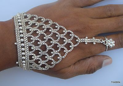 vintage antique tribal old silver hand ornament bracelet ring wedding jewelry