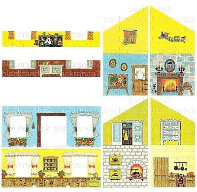 Vintage Fisher Price Little People 952 House Replacement Lithos Stickers Walls