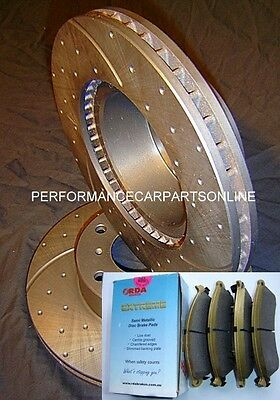 RDA DRILLED SLOTTED Rotors & Brake Pads Commodore VT VU VX VY VZ NEW FULL SET
