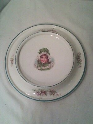 Vtg1905 ironstone pottery Victorian girl hat cherry blossom The baby plate NICE