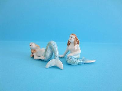 NEW TWO BEAUTIFUL BLUE TAILED MERMAID FIGURINES SIMILAR OCCUPIED JAPAN *Mint*