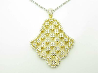18K Gold Sterling Silver Diamond Set Pave White Sapphire Hamsa Hand God Necklace