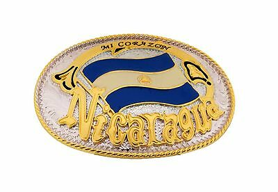 Nicaragua Country Flag Belt Buckle Central American Nation Gold Silver Metal