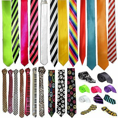 Mens Slim Skinny Solid Color Plain Stripe Satin RainbowTie Necktie Check Novelty