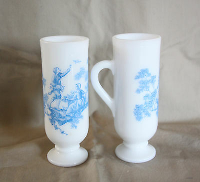 Avon 2 Blue Toile Demi Cup Expresso Mugs Milk White Glass French Country Life