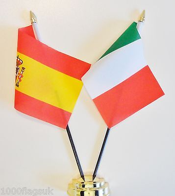 Spain & Italy Double Friendship Table Flag Set