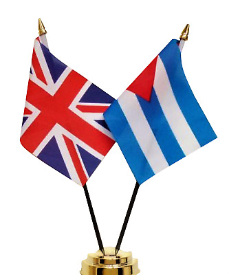United Kingdom & Cuba Double Friendship Table Flag Set
