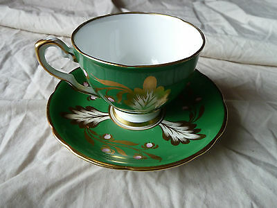 Green & Gold Royal Stafford made in England bone china tea cup & saucer