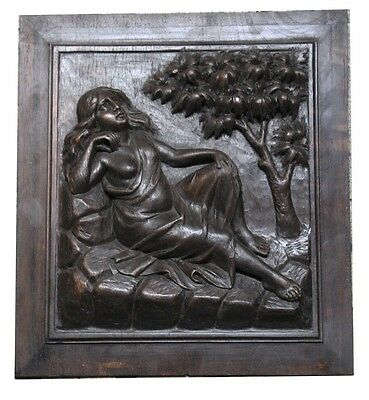 Interesting old naked fatty woman lady wooden hand carved plaque oak 40 x 36 cm