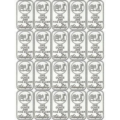 SPECIAL HOLIDAY PRICE-SilverTowne Logo 1oz .999 Fine Silver Bar LOT OF 20