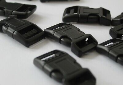 10 Black Plastic 20mm Side Quick Release Buckles
