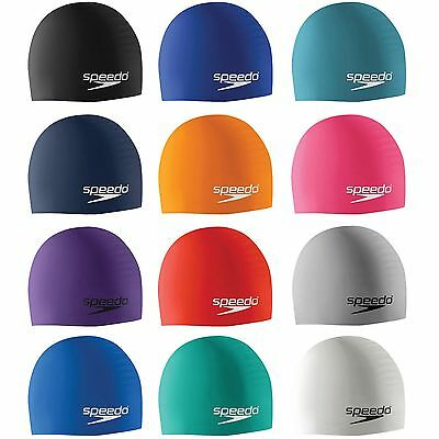 Speedo Adult Swim Cap Plain Moulded Silicone Long-Life Brand New Swimming