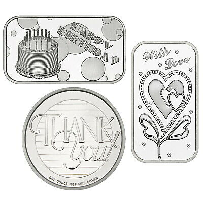 SilverTowne Special Occasion 1oz .999 Silver 3pc-BDAY CAKE, WITH LOVE, THANK YOU