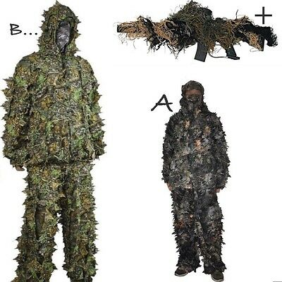 3D Leaf Ghillie Suit Woodland Camo/camouflage Hunting Deer Stalking In- M/l & Xl