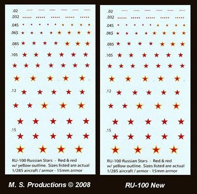1/144 -1/300 + 12mm 15mm - Decals RU-100 Russian Stars Red / Red+Yellow line