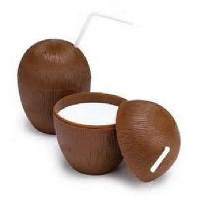24 COCONUT CUPS w/straws 16oz Wood Style Luau Party Brown Plastic