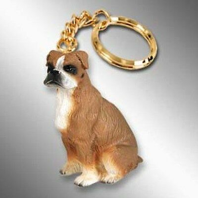 BOXER UnCropped Ears Dog Tiny One Resin Keychain Key Chain Ring