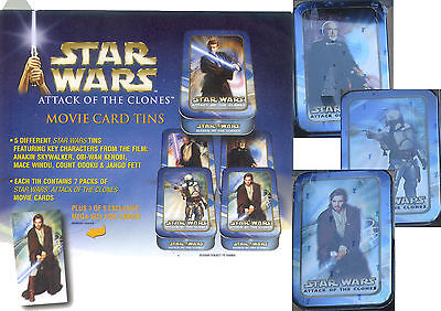 Star Wars ATOC Attack of the Clones Limited Edition 3  Sealed Trading card tins