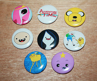 8 piece lot of Adventure Time pins buttons badges