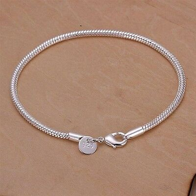 "925 Silver plated European Charm Bracelet Snake Lobster clasp chain 3mm 7.9"" A3"