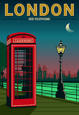 London Travel Red Telephone box Retro ENAMEL METAL TIN SIGN WALL PLAQUE