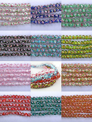 10pcs Flower Inside Faceted Rondelle Loose Lampwork Glass Spacer Beads 10X8MM