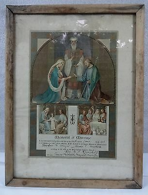 FINAL SALE $185 - WAS $212 -- Antique Religious Marriage Document Dated 1916
