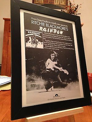 """1 FRAMED DEEP PURPLE RITCHIE BLACKMORE """"RAINBOW"""" LP CD PROMO AD - choose from 2!"""