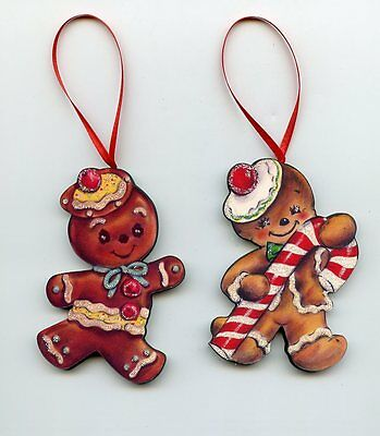(2) Gingerbread boy girl candy cane cherry Christmas tree Ornaments vtg. style