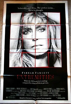 "Farrah Fawcett Movie Poster Extremities 1986 27x41"" VTG Pinup Charlie's Angels"