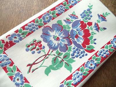Vintage Bright Red Blue Floral Grapes Printed Linen Table Runner Towel 17x27