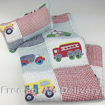 QUILTED BABY COT SET BENJI PATCHWORK QUILT & CUSHION 90x100cm **FREE DELIVERY**