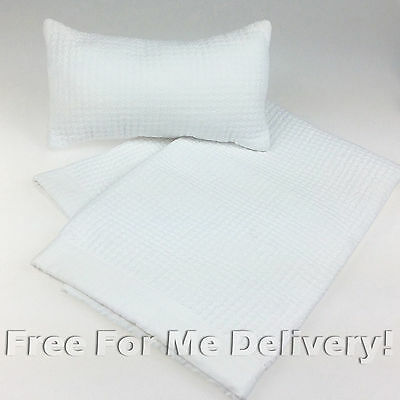 QUILTED BABY COT SET LOPEZ WHITE QUILT & CUSHION 90x100cm **FREE DELIVERY**