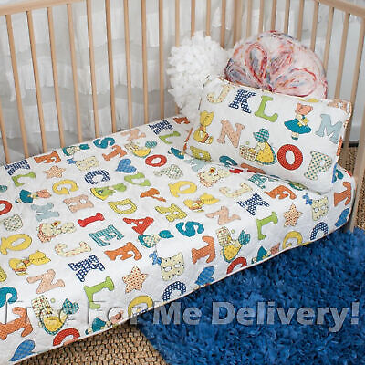 QUILTED BABY COT SET BAMBINI ALPHABET QUILT & CUSHION 100x130cm **FREE DELIVERY*