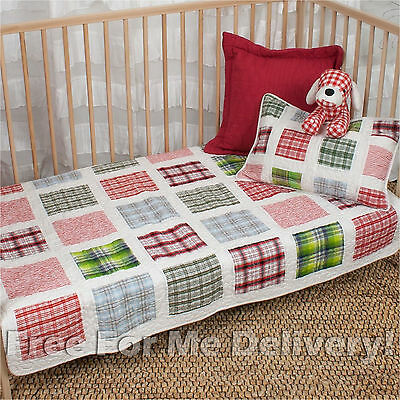 QUILTED BABY COT SET DACEY PATCHWORK QUILT & CUSHION 100x130cm **FREE DELIVERY**
