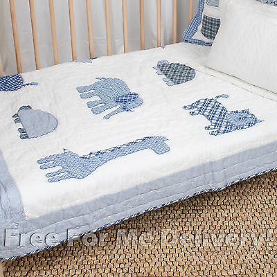 QUILTED BABY COT SET ZOO LAND BLUE QUILT & CUSHION 100x130cm **FREE DELIVERY**